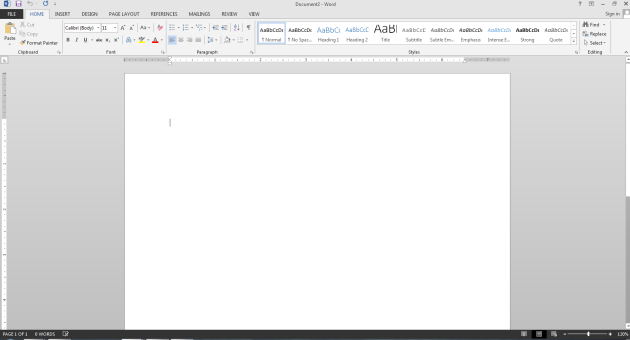 microsoft word 2013 interface