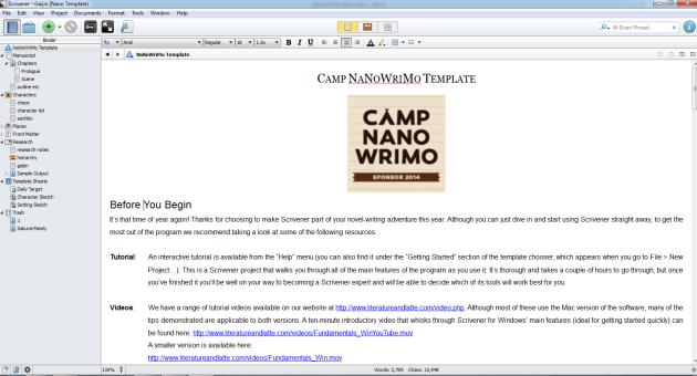 scrivener nanowrimo template