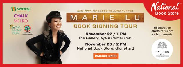 marie lu book signing poster